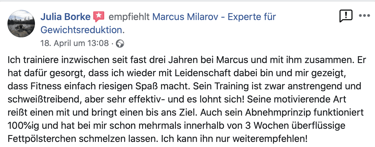 Kundenbewertung Personal Training Berlin