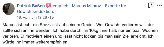 Marcus Milarov Personal Training in Berlin Kundenbewertung